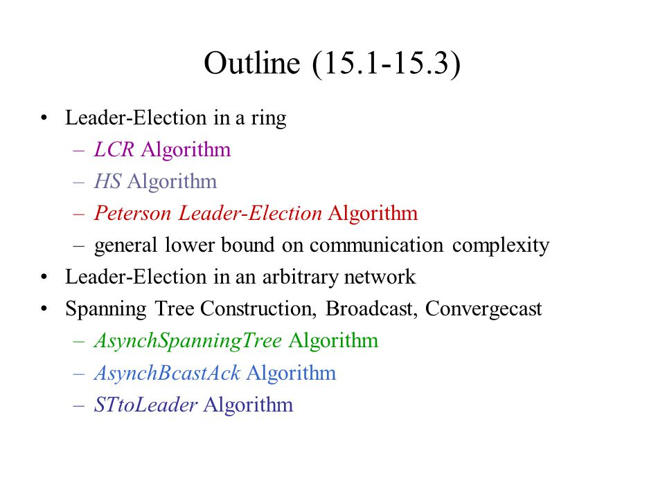 Outline (15.1-15.3) Leader-Election in a ring –LCR Algorithm –HS Algorithm –Peterson Leader-Election Algorithm –general lower bound on communication c