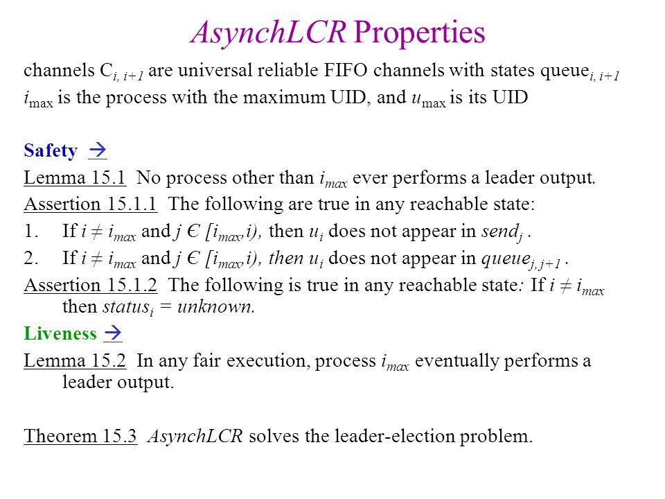 AsynchSpanningTree Properties Theorem 15.6 The AsynchSpanningTree algorithm constructs a spanning tree.