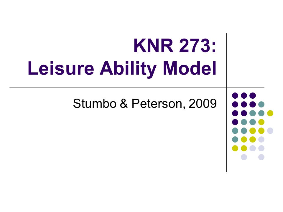 Leisure Ability Model 3 major categories of service Functional Intervention Leisure Education Recreation Participation See p.