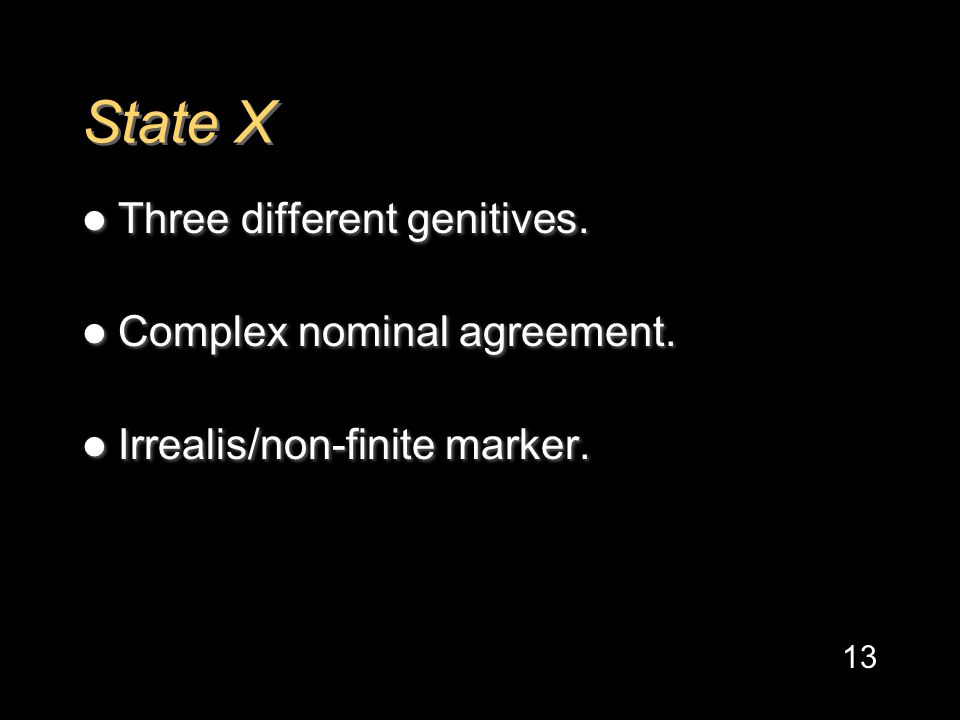 State X Three different genitives. Complex nominal agreement.