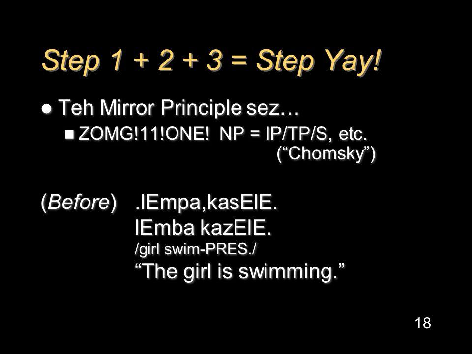 Step 1 + 2 + 3 = Step Yay. Teh Mirror Principle sez… ZOMG!11!ONE.
