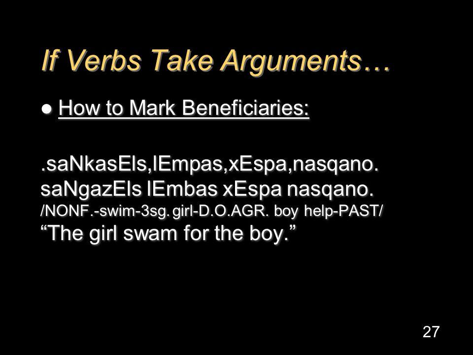 If Verbs Take Arguments… How to Mark Beneficiaries:.saNkasEls,lEmpas,xEspa,nasqano.