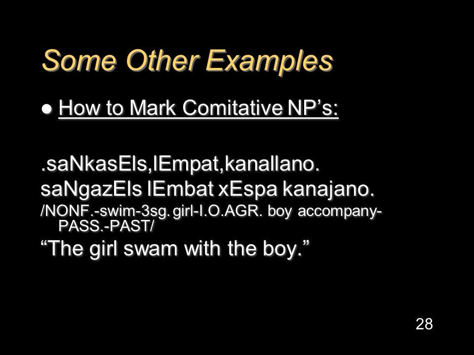 Some Other Examples How to Mark Comitative NP's:.saNkasEls,lEmpat,kanallano.