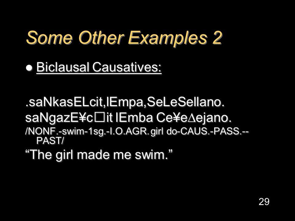 Some Other Examples 2 Biclausal Causatives:.saNkasELcit,lEmpa,SeLeSellano.