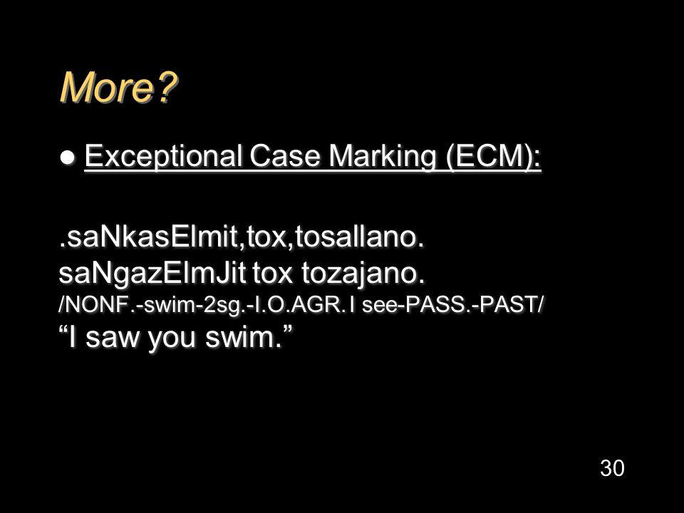 More. Exceptional Case Marking (ECM):.saNkasElmit,tox,tosallano.