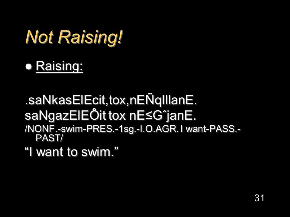 Not Raising. Raising:.saNkasElEcit,tox,nEÑqIllanE.