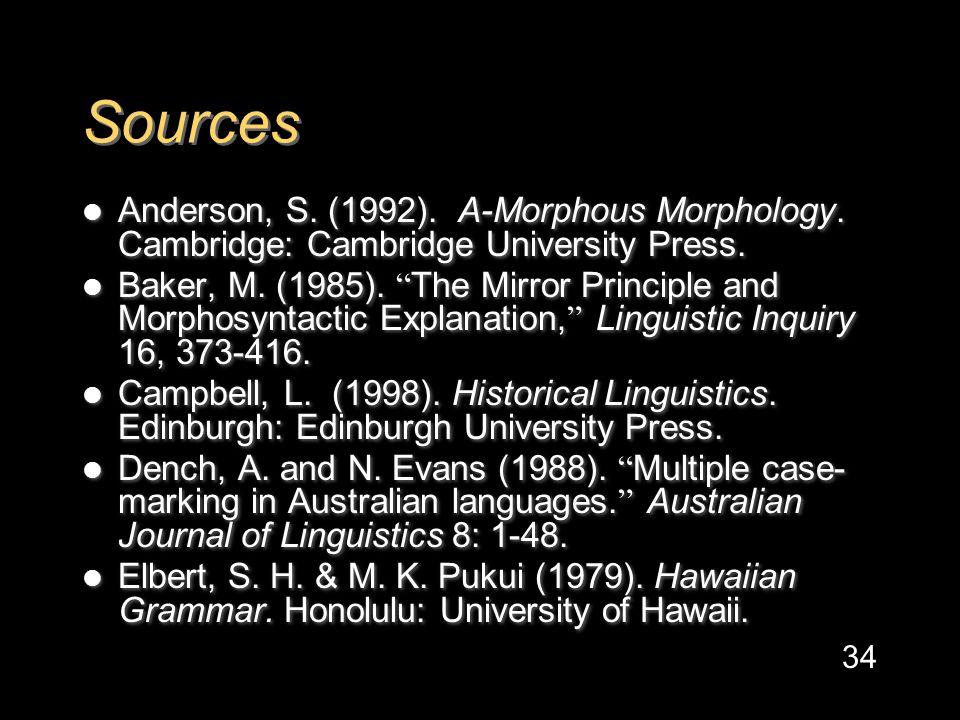Sources Anderson, S. (1992). A-Morphous Morphology.