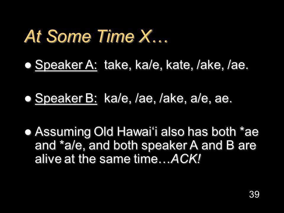 At Some Time X… Speaker A: take, ka/e, kate, /ake, /ae.