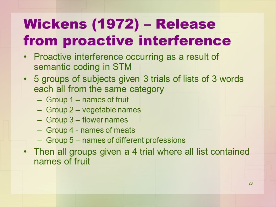 28 Wickens (1972) – Release from proactive interference Proactive interference occurring as a result of semantic coding in STM 5 groups of subjects gi
