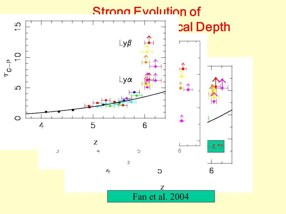 Strong Evolution of Gunn-Peterson Optical Depth Fan et al. 2004 Transition at z~5.7