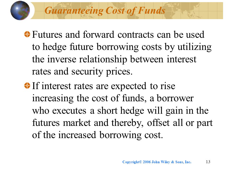 Copyright© 2006 John Wiley & Sons, Inc.13 Guaranteeing Cost of Funds Futures and forward contracts can be used to hedge future borrowing costs by util
