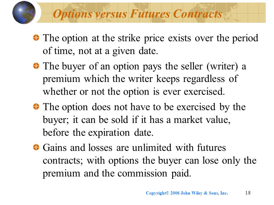 Copyright© 2006 John Wiley & Sons, Inc.18 Options versus Futures Contracts The option at the strike price exists over the period of time, not at a given date.