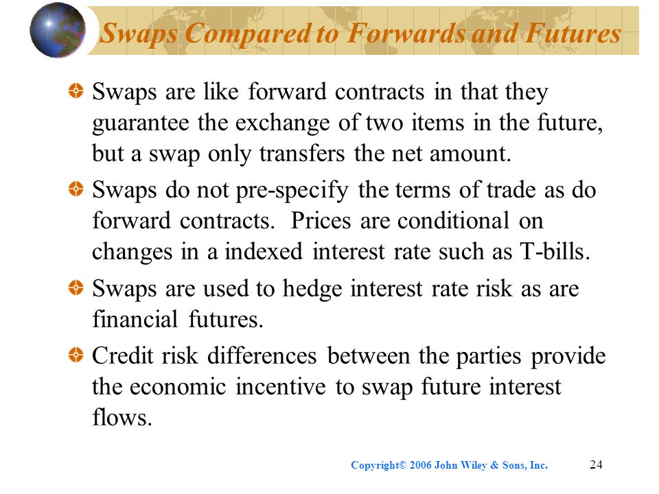 Copyright© 2006 John Wiley & Sons, Inc.24 Swaps Compared to Forwards and Futures Swaps are like forward contracts in that they guarantee the exchange of two items in the future, but a swap only transfers the net amount.