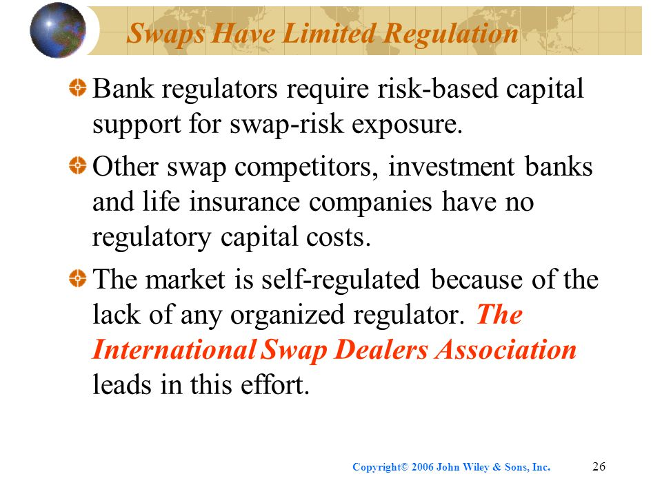 Copyright© 2006 John Wiley & Sons, Inc.26 Swaps Have Limited Regulation Bank regulators require risk-based capital support for swap-risk exposure.