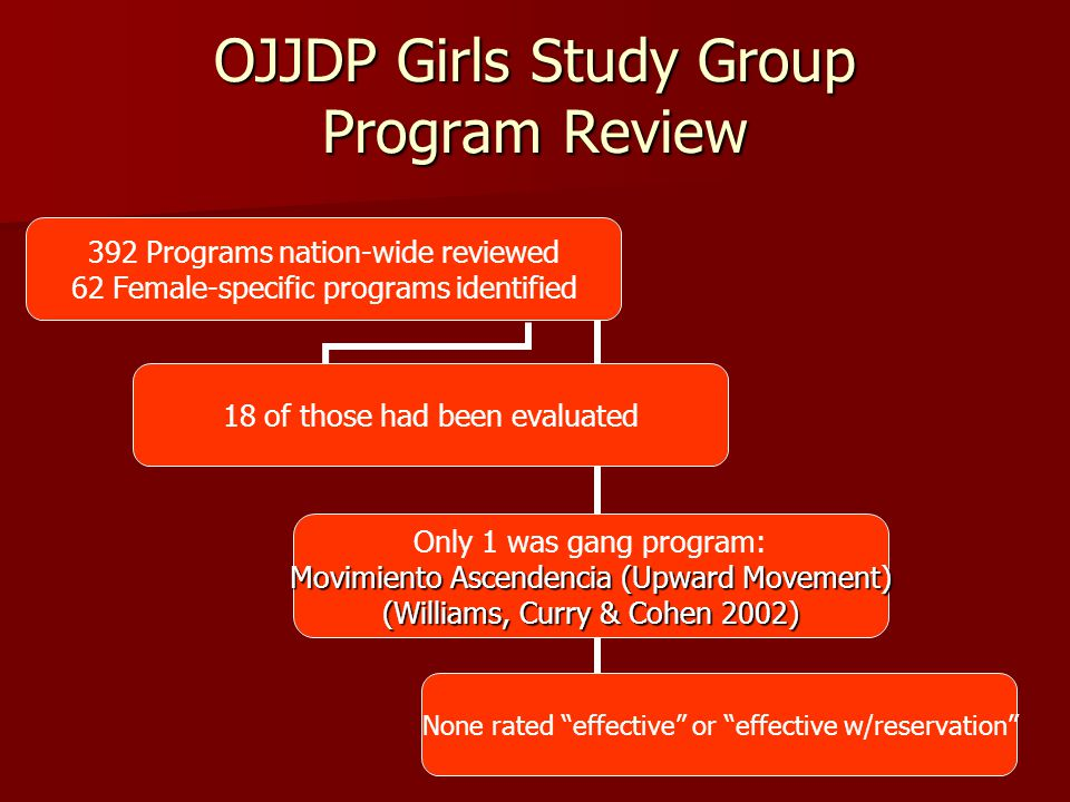 OJJDP Girls Study Group Program Review 392 Programs nation-wide reviewed 62 Female-specific programs identified 18 of those had been evaluated Only 1 was gang program: Movimiento Ascendencia (Upward Movement) (Williams, Curry & Cohen 2002) None rated effective or effective w/reservation