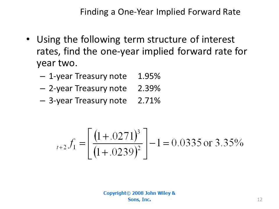 Finding a One-Year Implied Forward Rate Using the following term structure of interest rates, find the one-year implied forward rate for year two. – 1