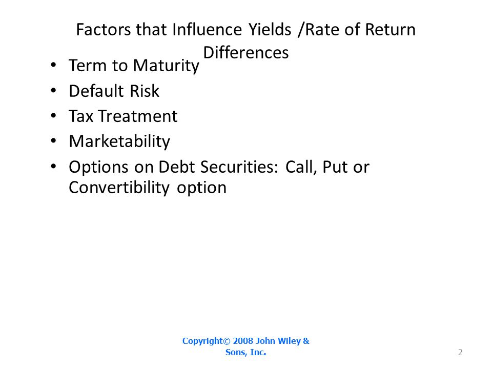 As credit rating declines, the default risk premium increases Copyright© 2008 John Wiley & Sons, Inc.