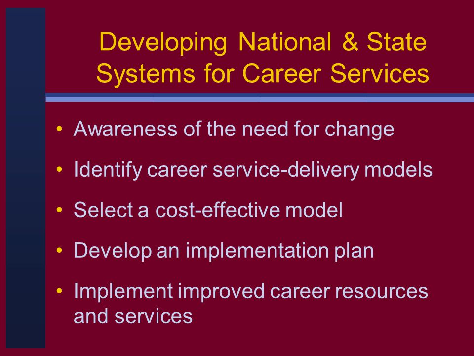 Developing National & State Systems for Career Services Awareness of the need for change Identify career service-delivery models Select a cost-effective model Develop an implementation plan Implement improved career resources and services