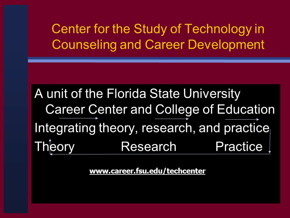 Center for the Study of Technology in Counseling and Career Development A unit of the Florida State University Career Center and College of Education Integrating theory, research, and practice Theory Research Practice www.career.fsu.edu/techcenter