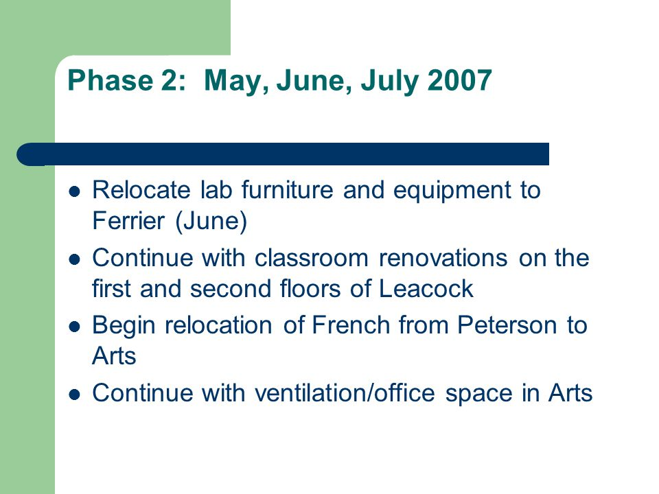 Phase 2: May, June, July 2007 Relocate lab furniture and equipment to Ferrier (June) Continue with classroom renovations on the first and second floors of Leacock Begin relocation of French from Peterson to Arts Continue with ventilation/office space in Arts