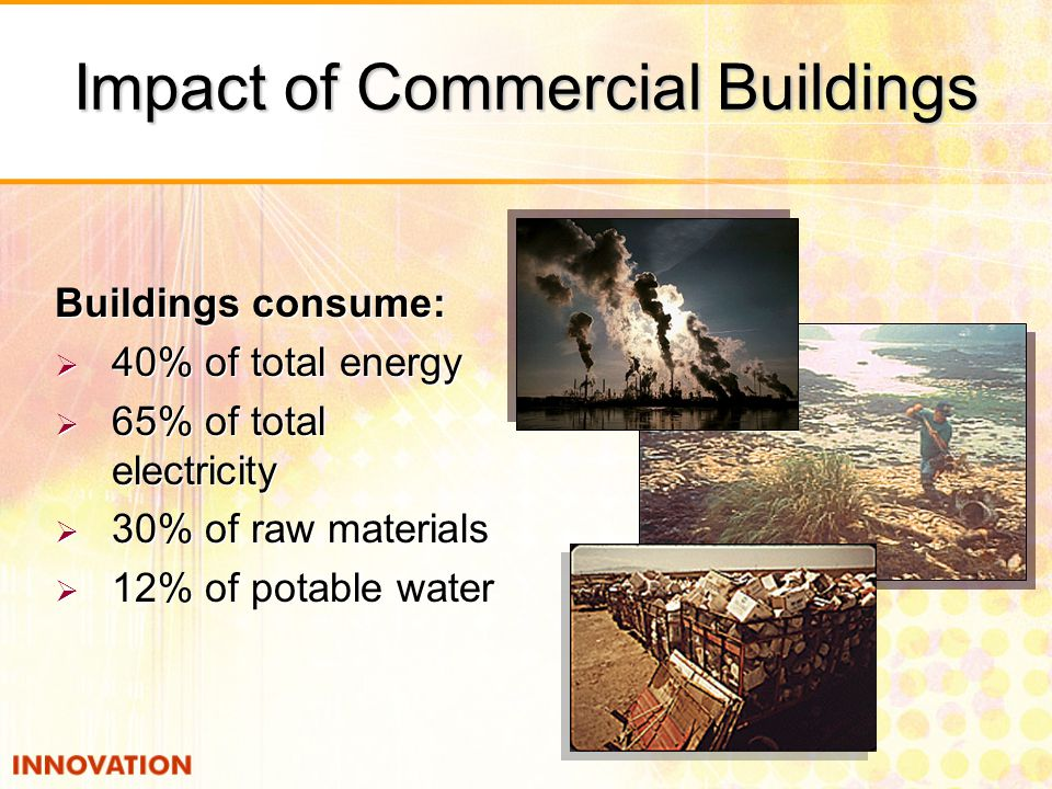 Impact of Commercial Buildings Buildings consume:  40% of total energy  65% of total electricity  30% of raw materials  12% of potable water Buildings consume:  40% of total energy  65% of total electricity  30% of raw materials  12% of potable water