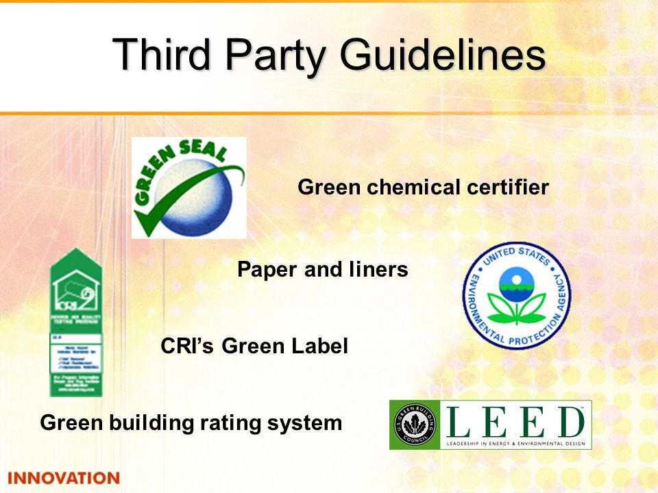 Green building rating system Green chemical certifier Paper and liners CRI's Green Label Third Party Guidelines