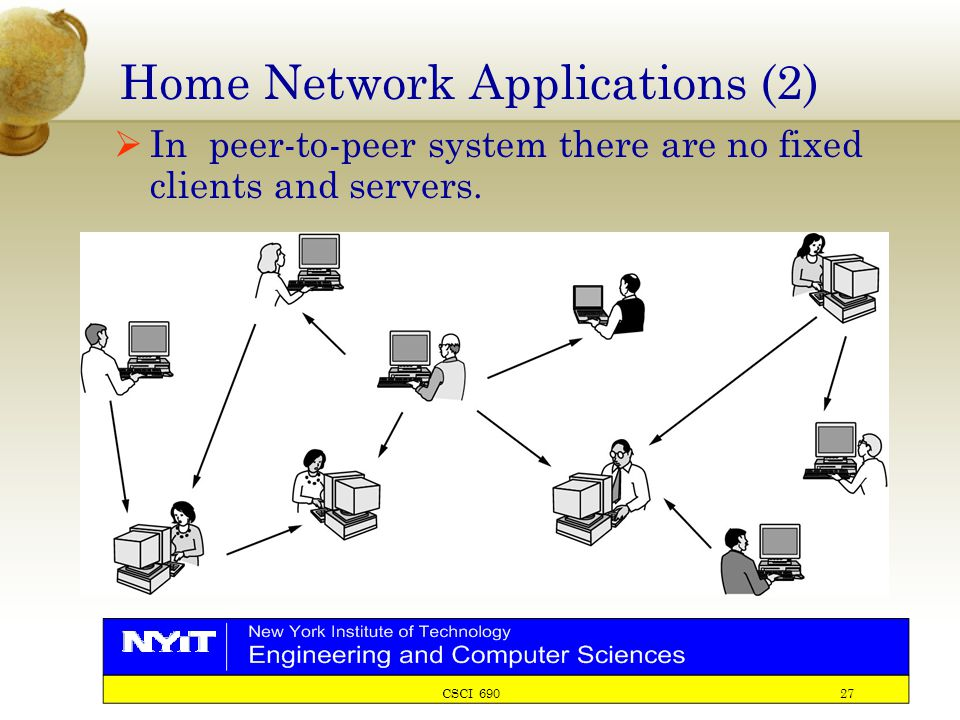 CSCI 690 27 Home Network Applications (2)  In peer-to-peer system there are no fixed clients and servers.