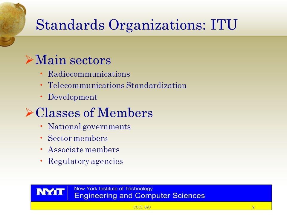 CSCI 690 9 Standards Organizations: ITU  Main sectors Radiocommunications Telecommunications Standardization Development  Classes of Members National governments Sector members Associate members Regulatory agencies