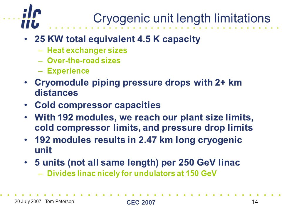 20 July 2007 Tom Peterson CEC 2007 14 Cryogenic unit length limitations 25 KW total equivalent 4.5 K capacity –Heat exchanger sizes –Over-the-road sizes –Experience Cryomodule piping pressure drops with 2+ km distances Cold compressor capacities With 192 modules, we reach our plant size limits, cold compressor limits, and pressure drop limits 192 modules results in 2.47 km long cryogenic unit 5 units (not all same length) per 250 GeV linac –Divides linac nicely for undulators at 150 GeV