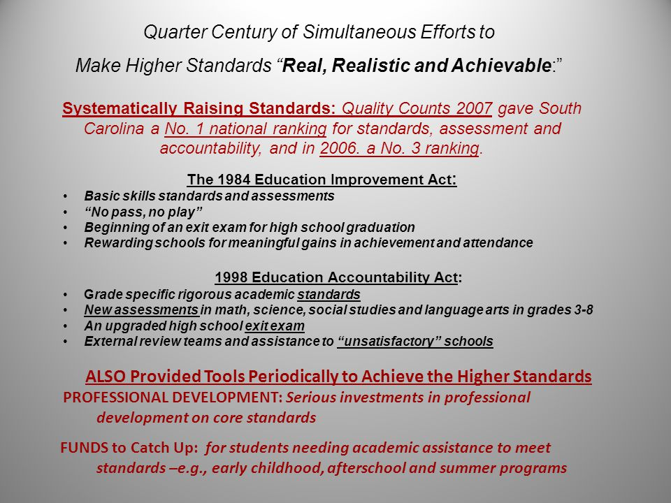 Quarter Century of Simultaneous Efforts to Make Higher Standards Real, Realistic and Achievable: Systematically Raising Standards: Quality Counts 2007 gave South Carolina a No.