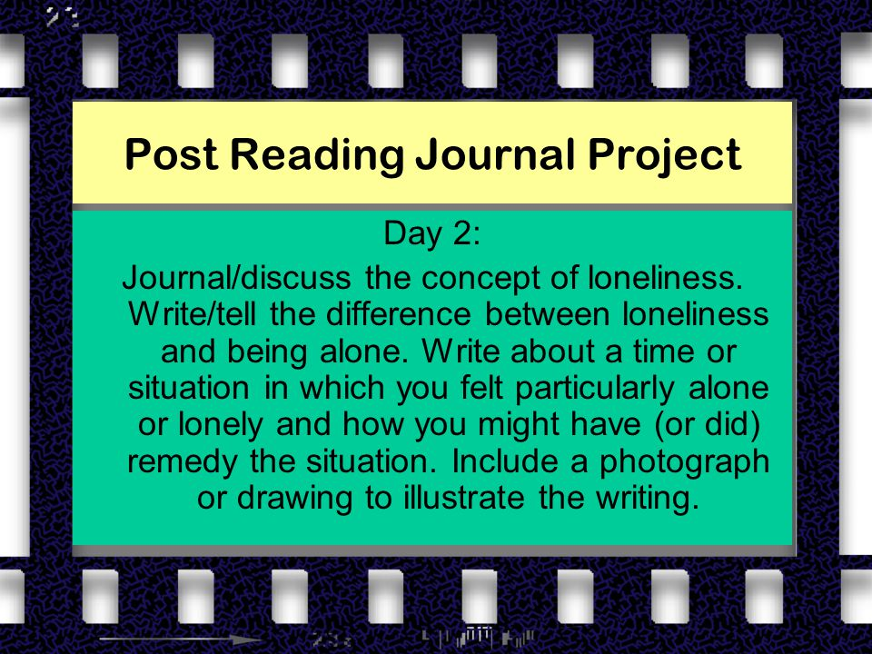 Post Reading Journal Project Day 2: Journal/discuss the concept of loneliness.