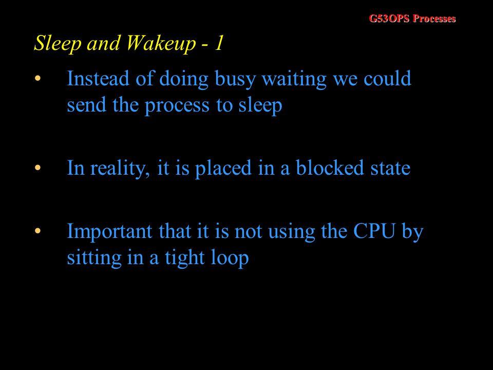 G53OPS Processes Classic Synchronisation Problems - 5 P0P0 P4P4 P1P1 P2P2 P3P3 0 1 2 3 4