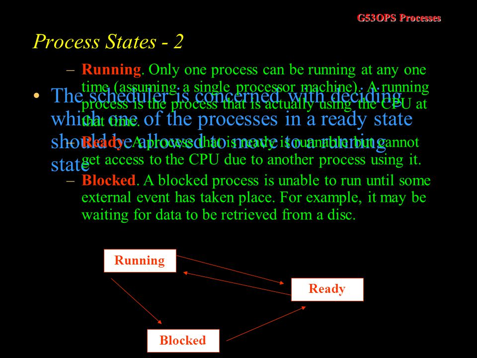 G53OPS Processes Process States - 2 The scheduler is concerned with deciding which one of the processes in a ready state should be allowed to move to a running state Running Blocked Ready –Running.