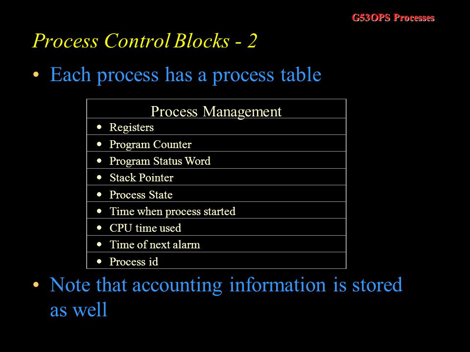 G53OPS Processes Process Control Blocks - 1 When a process moves from a running state to a ready or blocked state it must store certain information so