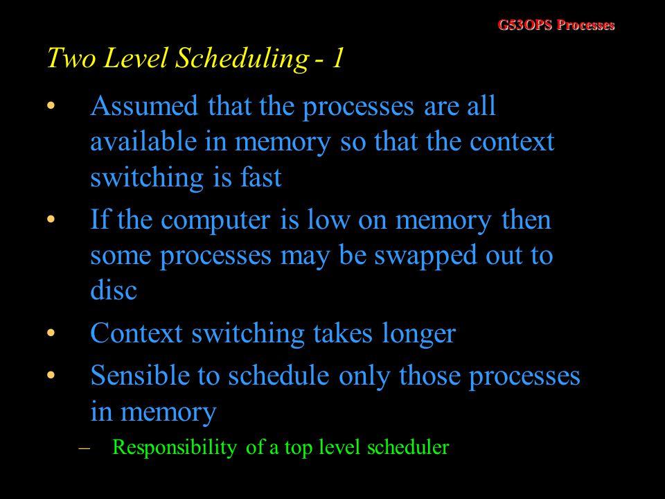 G53OPS Processes Multilevel Feedback Queue Scheduling –5 Mimic other scheduling algorithms –One queue –Suitable quantum –RR algorithm –Generalise to t