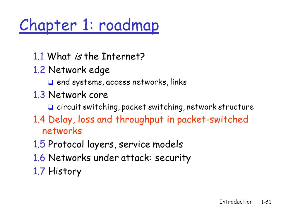Introduction 1-51 Chapter 1: roadmap 1.1 What is the Internet? 1.2 Network edge  end systems, access networks, links 1.3 Network core  circuit switc