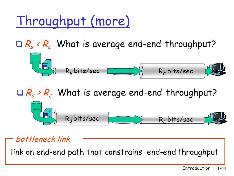 Introduction 1-63 Throughput (more)  R s < R c What is average end-end throughput? R s bits/sec R c bits/sec  R s > R c What is average end-end thro