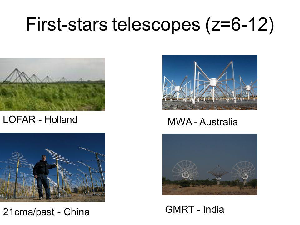 First-stars telescopes (z=6-12) LOFAR - Holland MWA - Australia 21cma/past - China GMRT - India