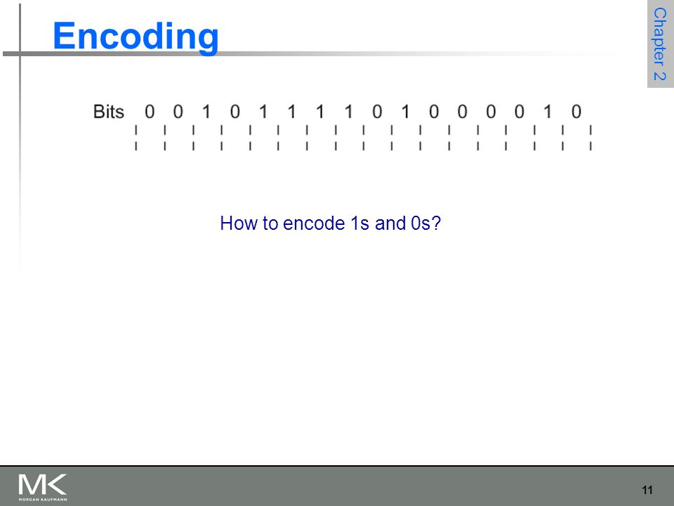 11 Chapter 2 Encoding How to encode 1s and 0s?