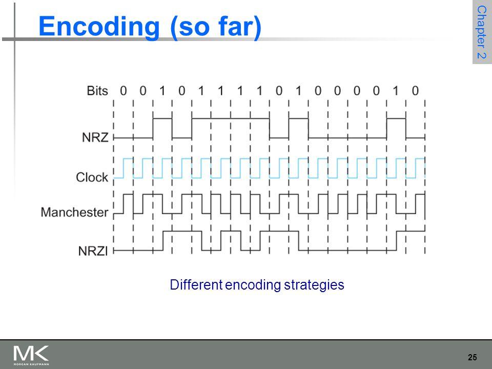 25 Chapter 2 Encoding (so far) Different encoding strategies