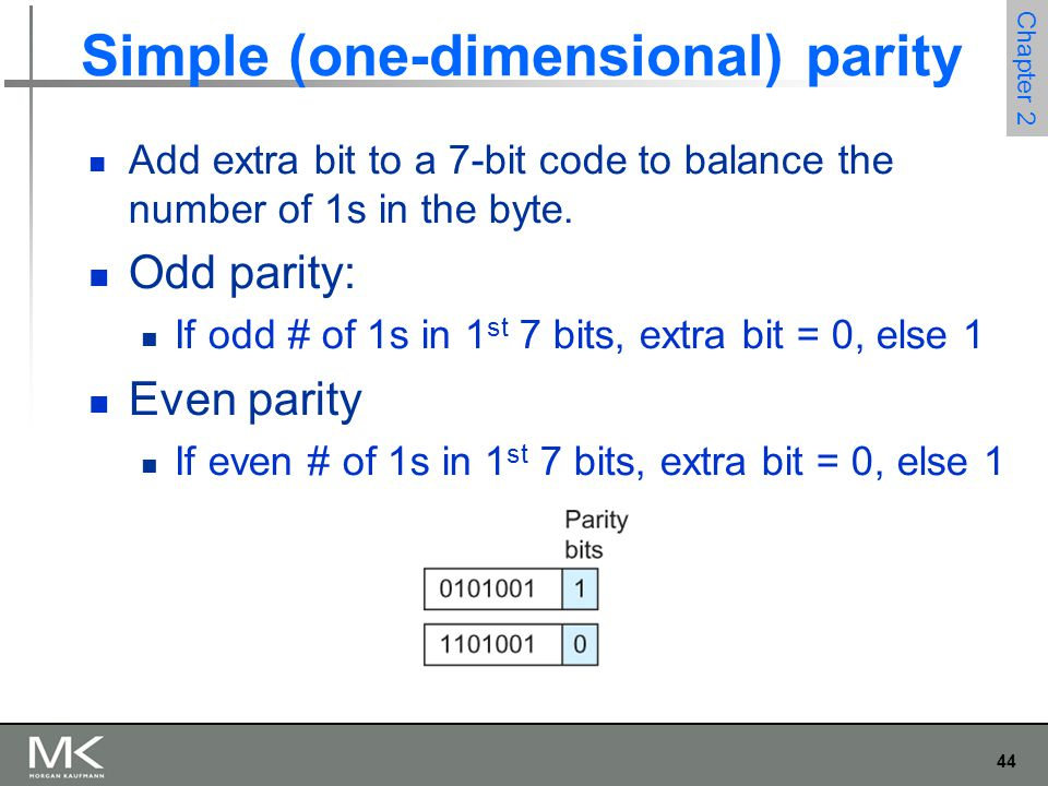44 Chapter 2 Simple (one-dimensional) parity Add extra bit to a 7-bit code to balance the number of 1s in the byte.