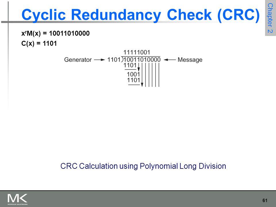 61 Chapter 2 Cyclic Redundancy Check (CRC) CRC Calculation using Polynomial Long Division x r M(x) = 10011010000 C(x) = 1101
