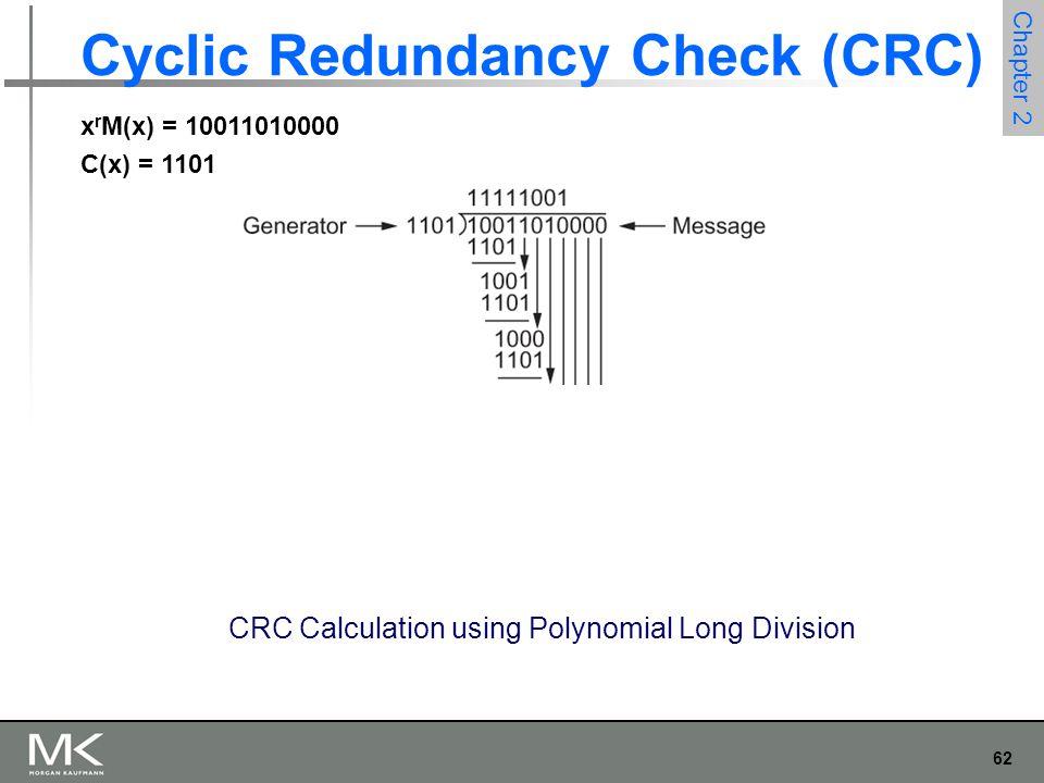 62 Chapter 2 Cyclic Redundancy Check (CRC) CRC Calculation using Polynomial Long Division x r M(x) = 10011010000 C(x) = 1101