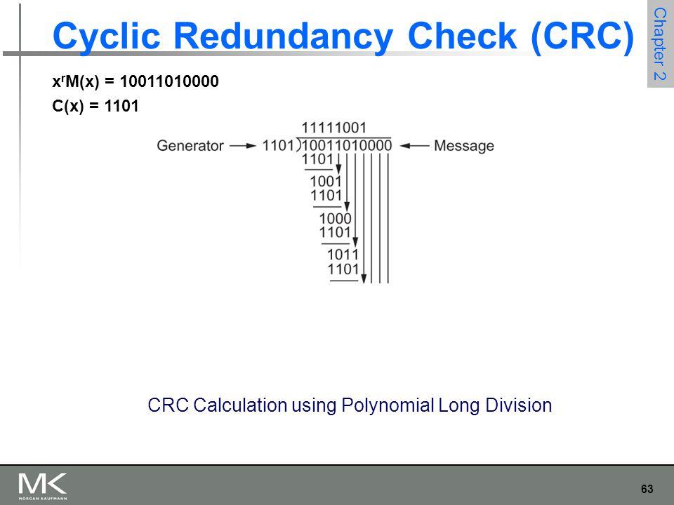 63 Chapter 2 Cyclic Redundancy Check (CRC) CRC Calculation using Polynomial Long Division x r M(x) = 10011010000 C(x) = 1101