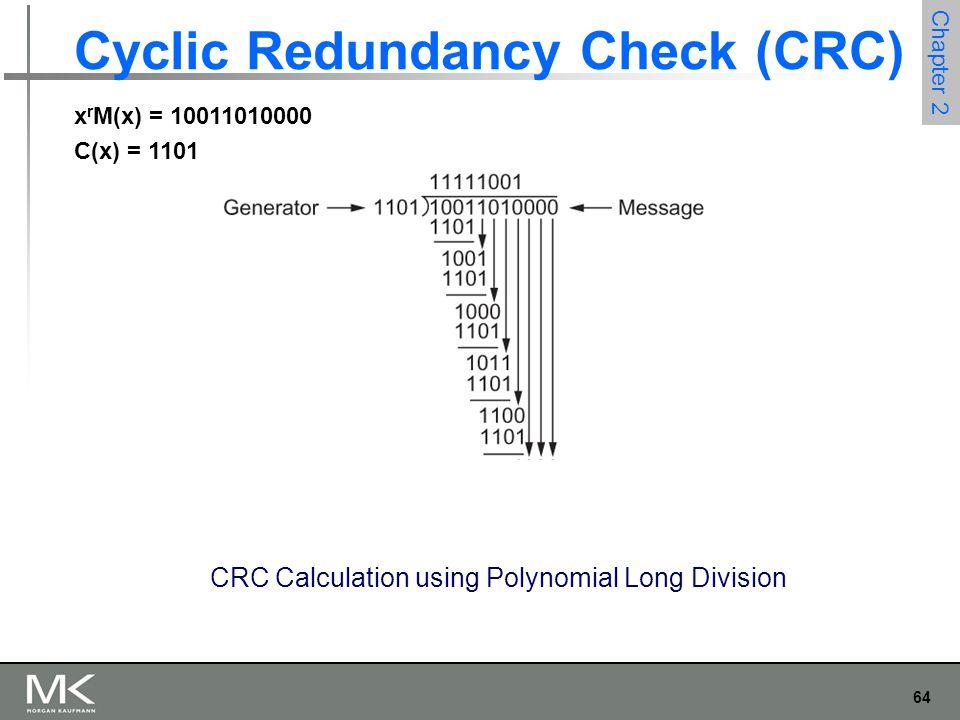 64 Chapter 2 Cyclic Redundancy Check (CRC) CRC Calculation using Polynomial Long Division x r M(x) = 10011010000 C(x) = 1101