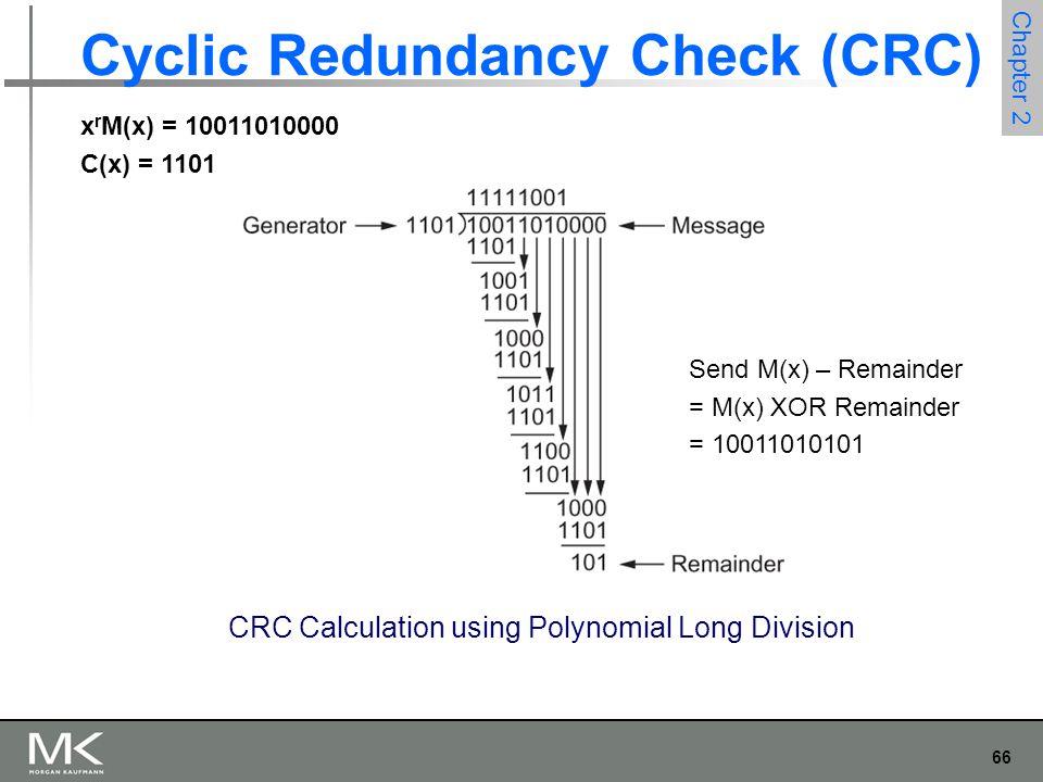 66 Chapter 2 Cyclic Redundancy Check (CRC) CRC Calculation using Polynomial Long Division Send M(x) – Remainder = M(x) XOR Remainder = 10011010101 x r M(x) = 10011010000 C(x) = 1101