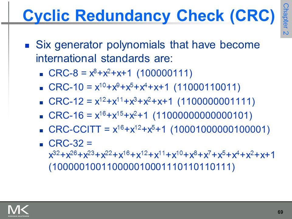 69 Chapter 2 Cyclic Redundancy Check (CRC) Six generator polynomials that have become international standards are: CRC-8 = x 8 +x 2 +x+1 (100000111) CRC-10 = x 10 +x 9 +x 5 +x 4 +x+1 (11000110011) CRC-12 = x 12 +x 11 +x 3 +x 2 +x+1 (1100000001111) CRC-16 = x 16 +x 15 +x 2 +1 (11000000000000101) CRC-CCITT = x 16 +x 12 +x 5 +1 (10001000000100001) CRC-32 = x 32 +x 26 +x 23 +x 22 +x 16 +x 12 +x 11 +x 10 +x 8 +x 7 +x 5 +x 4 +x 2 +x+1 (100000100110000010001110110110111)