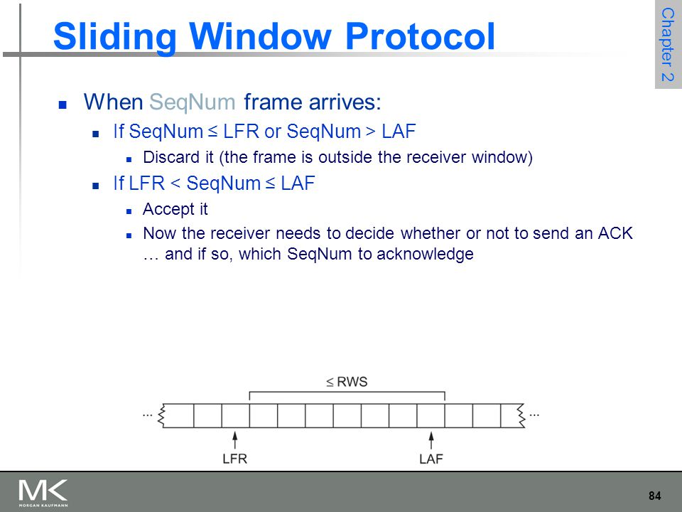 84 Chapter 2 Sliding Window Protocol When SeqNum frame arrives: If SeqNum ≤ LFR or SeqNum > LAF Discard it (the frame is outside the receiver window) If LFR < SeqNum ≤ LAF Accept it Now the receiver needs to decide whether or not to send an ACK … and if so, which SeqNum to acknowledge