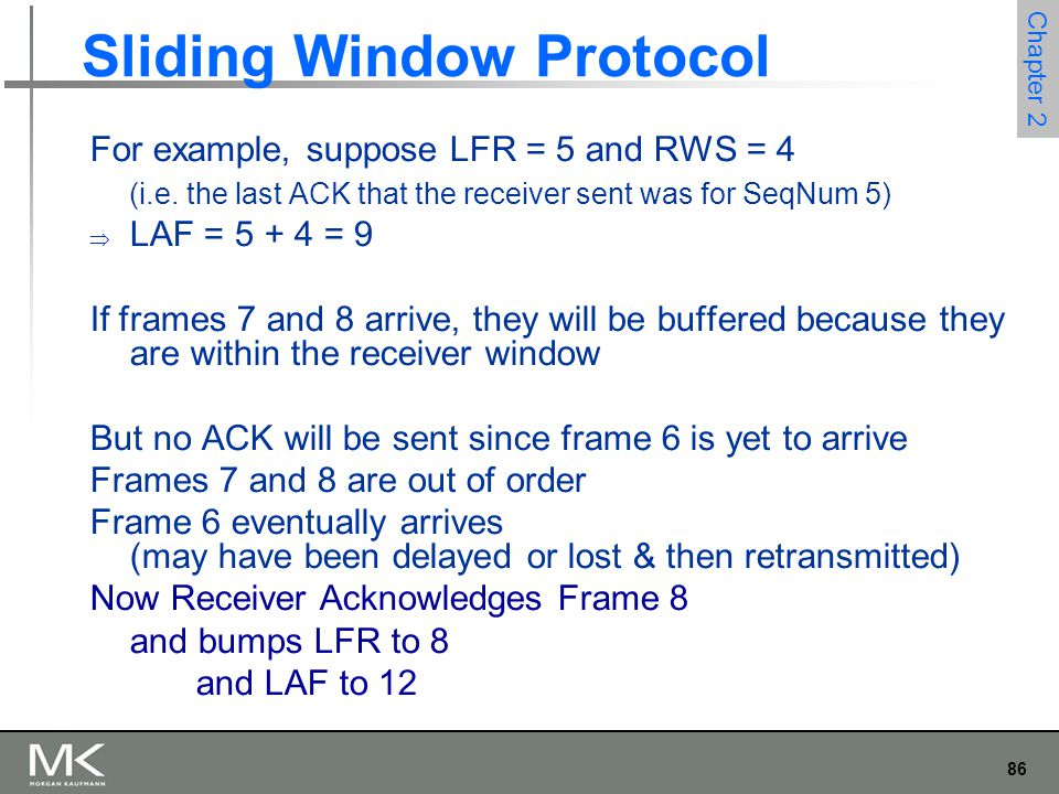 86 Chapter 2 Sliding Window Protocol For example, suppose LFR = 5 and RWS = 4 (i.e. the last ACK that the receiver sent was for SeqNum 5)  LAF = 5 +