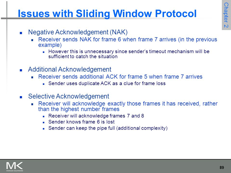 89 Chapter 2 Issues with Sliding Window Protocol Negative Acknowledgement (NAK) Receiver sends NAK for frame 6 when frame 7 arrives (in the previous e
